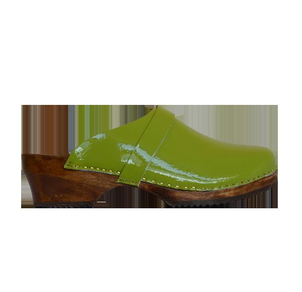 Sabot cuir vernis vert