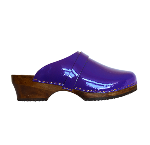 Sabot cuir vernis violet
