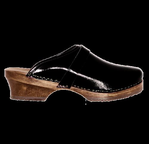 Sabot Suédois de cuir vernis noir
