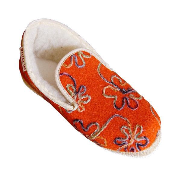chausson femme orange fleurs