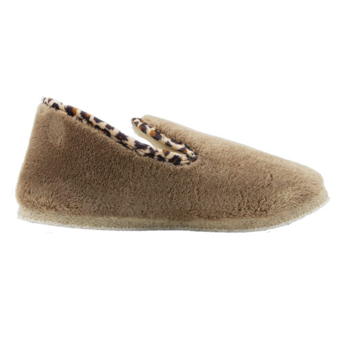 Pantoufle charentaise Hiver fourrure sable galon animal