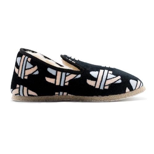Charentaise velours noir motifs géométriques