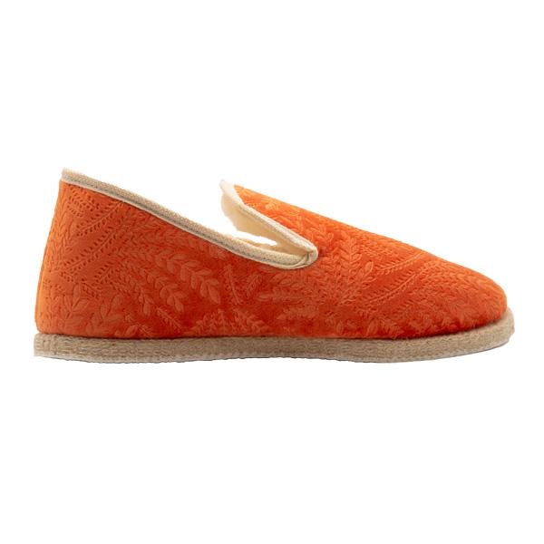 Charentaise hiver velours embossé orange